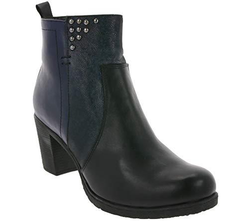 Gemini Echtleder-Boots Coole Damen Stiefelette Freizeit-Stiefel Casual-Schuhe Schwarz/Navy, Größe:41