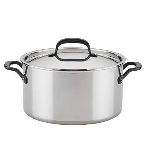 KitchenAid - Olla de acero inoxidable con tapa (5 capas, 8 cuartos), color platead