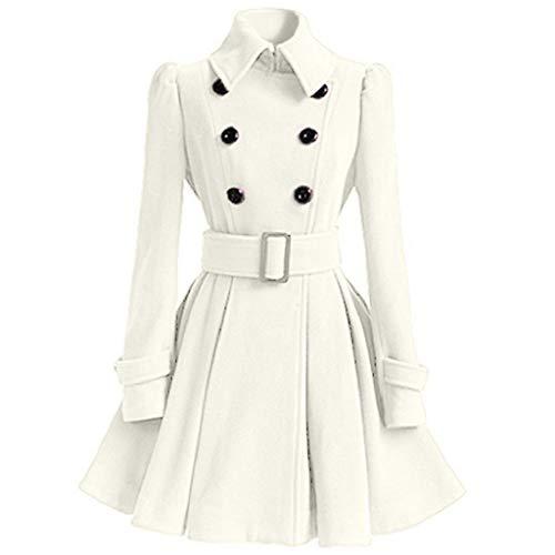 SHOBDW Mujer Liquidación de la Venta Tops de Manga Larga de Moda Espesar cálida Lana Parka Chaqueta de la Correa del Vestido de la Solapa Outwear sólido Abrigos de Invierno (S, Blanco)