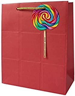 """Dylan's Candy Bar Whirly Pop Gift Bags, 8.43"""" x 10"""" x 4"""", Red"""