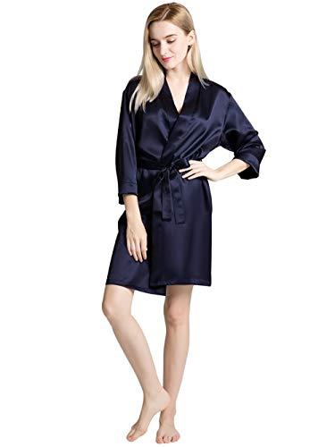 ElleSilk Bademäntel aus 100 % Seide für Damen, Seide, Nachtwäsche, 22 Momme Maulbeerseide - Blau - Large