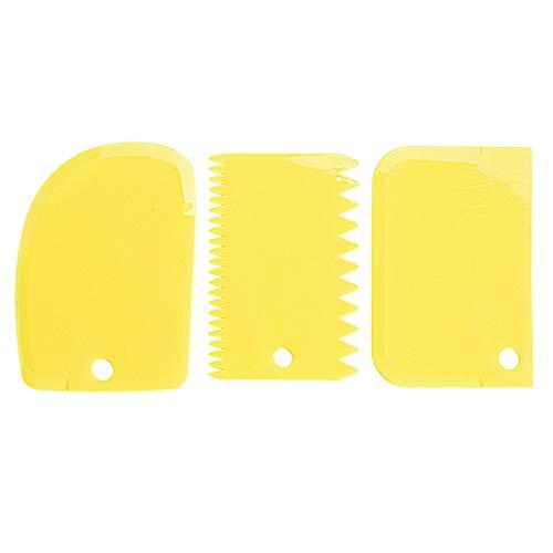 Judyd 3 Pezzi Set di Raschietti per Ciotola per Torta FAI Da Te Set di Tagliapasta in Plastica per Utensili Da Cucina E Casa, Strumento Di Decorazione In tre Pezzi In Plastica Gialla, Giallo