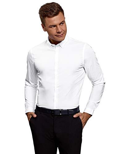 oodji Ultra Herren Hemd Slim Fit Basic, Weiß, 41
