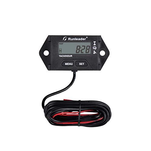 Runleader Cuentarrevoluciones digital Tacómetro, Recordatorio de mantenimiento, Horas iniciales configurables, Uso para ZTR Cortacésped Generador ATV marino Motor y equipo con motor de gas