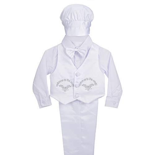 Lito Angels Baby Jongen Satijn Doop Outfit Lange Mouw Bruiloft Pak met Bonnet 5 Stks Set Wit