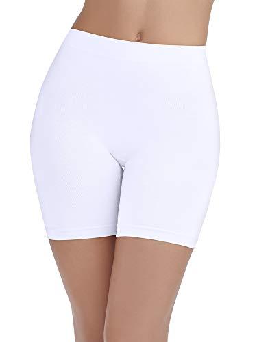 Vanity Fair Women's Lightweight Smoothing Slip Short (S-3XL), Seamless Waistband-White, Large