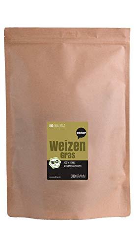 Weltuer bio tarwegraspoeder 500g uit Beieren | Bio tarwegras gemalen (DE-ÖKO-006) in rauwkostkwaliteit