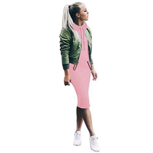 FORH Damen Winter Langarm Sweatshirt Kleid Elegant Basic einfarbig Sweatjacke Coat Super Mode Langshirt Pullover Knielang Minikleid Outwear mit Taschen (L, Rosa)