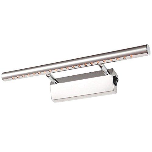 Kompassswc LED Spiegelleuchte mit Schalter 7W 490Lumen Wasserdicht Edelstahl Badlampe 180° einstellbar Wandleuchte LED Schrankleuchte Bilderleuchte Badezimmerlampe 30SMD 55CM Länge Warmweiß