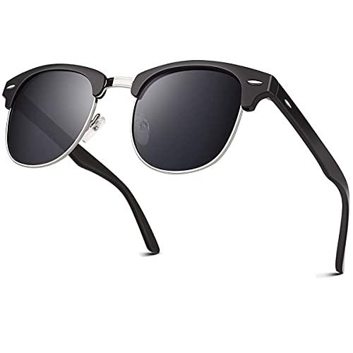 CuOmix Metall-Sonnenbrille mit Halbrahme Retro Polarisiert Linse Damen Herren XNSG3 (Schwarz · Grau)
