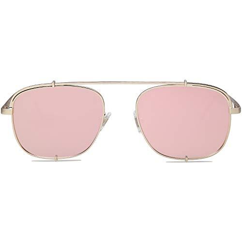 SOJOS Handgemacht Rostfreier Sathl Galvanotechnik Kein Nickel Polarisiert Damen Herren Mode Sonnenbrille SJ1103 mit Gold Rahmen/Rosa Linse