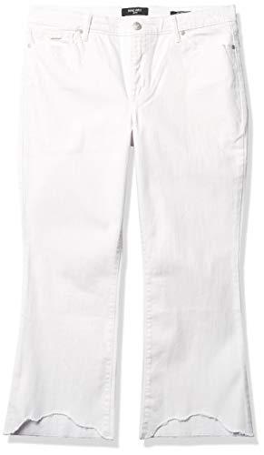 Nine West Gramercy Kick Boot Crop Jeans, Blanco – Dobladillo destrozado, 48 para Mujer
