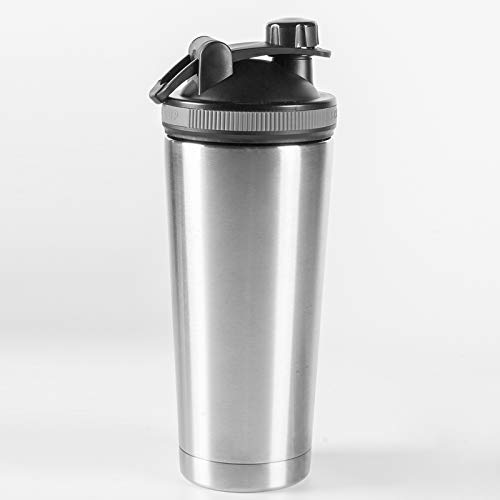 Leakproof Shaker Bottles for Protein MixesIce Shaker Shark Tank Stainless Steel Shaker Bottle 750ML Keep Hot water or Cold for Sport Home Car Use GiftSilver