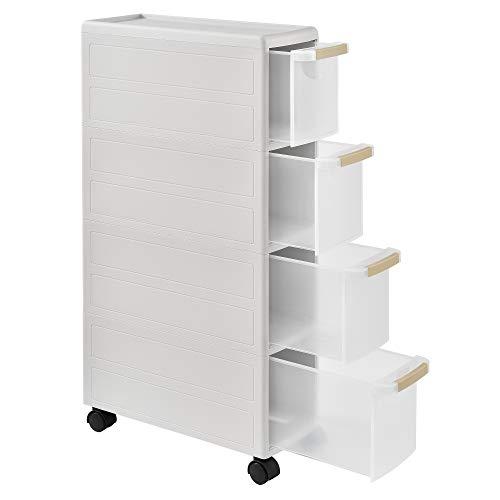 [en.casa] Carro rodante - Blanco - 85 x 18 x 46,5 cm - Estante de la Cocina - Carrito con Ruedas - Cesta de Almacenamiento