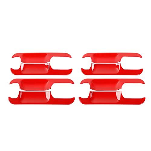 Laimiko 4 Piezas Cubiertas de Moldura de Cuenco de Manija de la Puerta Exterior DecoracióN para F150 2015-2019 Rojo