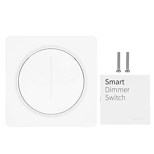 Interruptor de luz WiFi inteligente compatible con Alexa Google Home KKmoon Tuya Interruptor de atenuación de control con control remoto Unipolar Se requiere cable neutro continuo estándar europeo