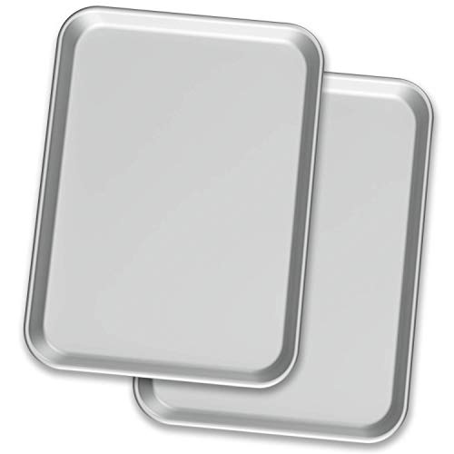 "Baking Sheet Pans – Two Aluminium Cookie Sheet Pan (13"" x 18"") - for Commercial or Home Use. Half Size Baking Pan Set w/ Cookie Sheets"