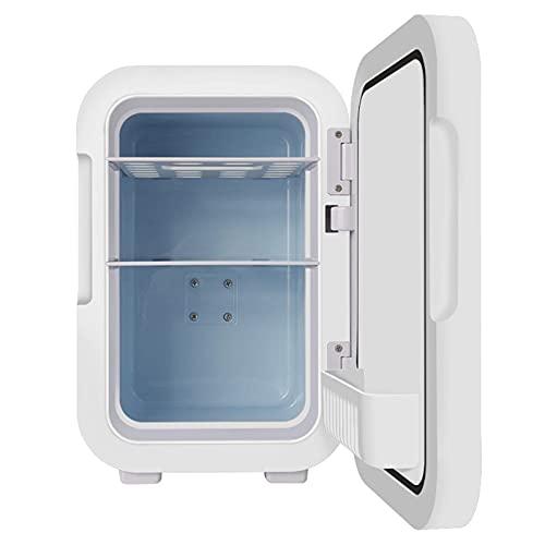 4L / 6L Cosméticos Refrigeradores con espejo de maquillaje y luz LED Portátil de luz 2 en 1 Frigoríficos con función de enfriamiento y calefacción, congelador pequeño para automóviles Camping Mini-Bar