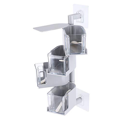 Sticking Condiment Storage Can Food Box, Rotating Seasoning Box Seasoning Box, for Condiment Kitchen Storage(gray)