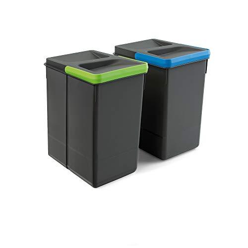 EMUCA Basura, Cubos de Reciclaje para Base Recortable, Juego de 2 Contenedores de Alto 266Mm Y Capacidad 7 litros, Gris, H 266 mm (2 x 7 L)
