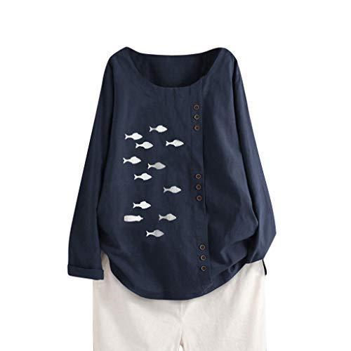MRULIC Büro Arbeitskleidung Damen Baumwolle Leinen T-Shirt Einfarbige Knöpfe Oberteile Frauen Casual Bluse Lose mit 3/4 Ärmel Hemd Tuniken