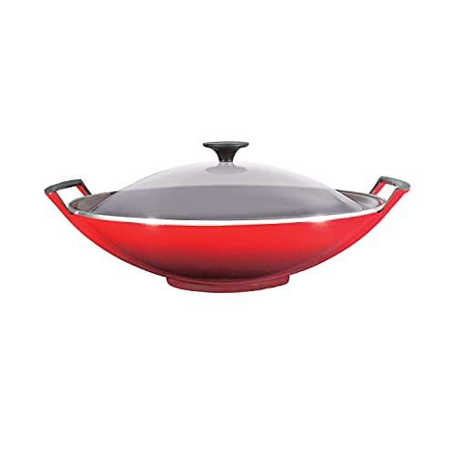 Le Creuset Wok de hierro fundido con tapa de cristal, diámetro 36...