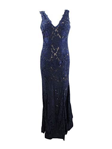 Betsy & Adam Womens Lace Embroidered Formal Dress Navy 10