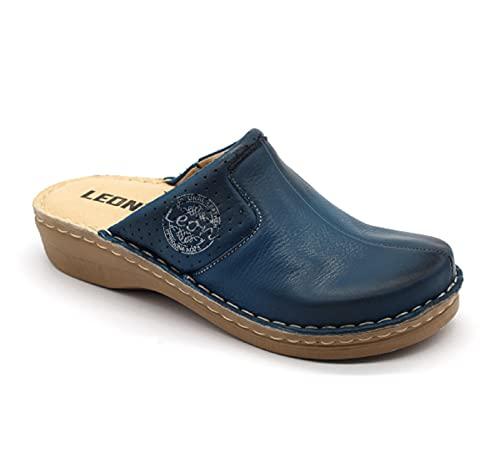 LEON 360 Komfortschuhe Lederschuhe Pantolette Clog Damen, Blau, EU 39