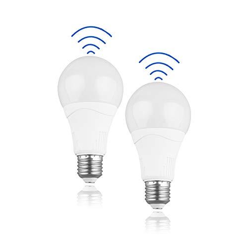 Lampadina LED con sensore di movimento - 15W (equivalente a 100W), 1500LM, E27 Edison, bianco freddo (5000K) perfetta per all'aperto, gargen, confezione da 2