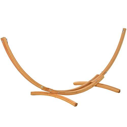 Outsunny Hängemattengestell für Hängematte Hängemattenständer mit Zugseil Garten Strand Lärche 320 x 120 x 120 cm bis 220 kg