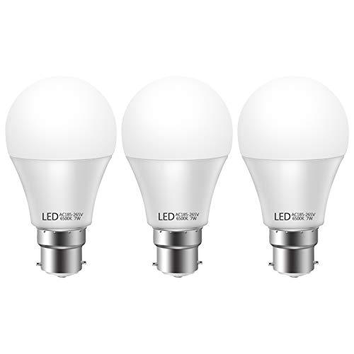 moinkerin 3 Stücke LED Lampe B22 LED B22 LED Glühbirnen B22 7W Weißes Licht 6500K für Zuhause, Schlafzimmer, Wohnzimmer, Kronleuchter, Esszimmer, Hotel, [Energieklasse A +] (Weiß)
