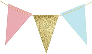 Ling's moment Paper Pennant Banner Triangle GarlandGlitter Gold Pink Blue Flag Banner for Gender Reveal, Wedding, Baby Nursery, Bridal Shower, Birthday, Event & Party Supplies, 15pcs