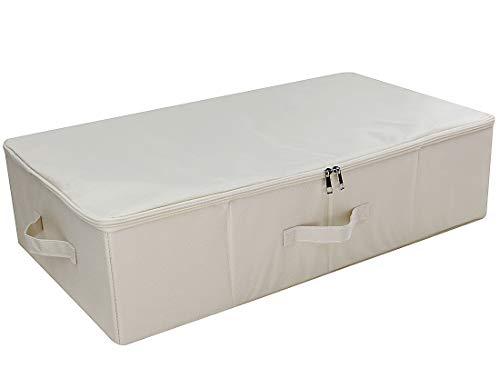 iwill CREATE PRO IKEA Style Fabric Folding Under Bed Aufbewahrungsbox Organizer mit Deckel, zusammenklappbare Decken, Bettdecken Aufbewahrungskörbe, Beige