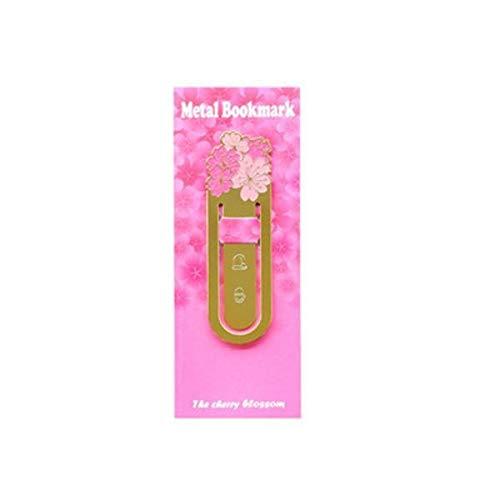 Neaer Segnalibro Romantico Segnalibro giapponese Cherry Metallo Ottone Segnalibro Carta Segnalibro Per Libri Accessori Kawaii Cancelleria Negozio Ufficio cancelleria (Colore: Rosa)