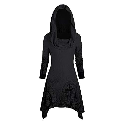 Gothic Kleider Damen Halloween Mittelalter Kleid mit Kapuze Lang Oberteile Umhang Print T-Shirt-Kleid Hoodie Casual Sweatkleid Kanpola