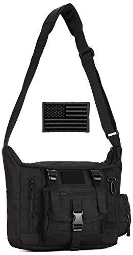 Protector Plus Tactical Messenger Bag Men Military MOLLE Sling Shoulder Pack Briefcase Assault Gear Handbags Outdoor Utility Carry Satchel Laptop Case (Patch Included), Black