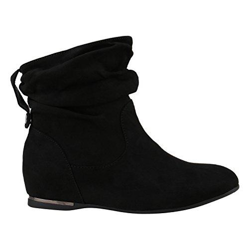 Damen Schlupfstiefel Leder-Optik Stiefeletten Bequeme Schuhe 150273 Schwarz Velours 37 Flandell