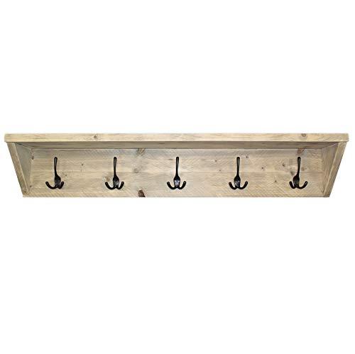 Steigerhoutpassie - Kapstok - Steigerhout - Wandbevesting - Blinde bevestiging - Incl. Handleiding - (L)120 x (H)22 x (D)19cm