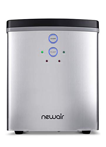 NewAir Portable Ice Maker 33 lb 2 Ice Size Bullets Daily, Perfect Machine for Countertops, NIM033SS00 Silver