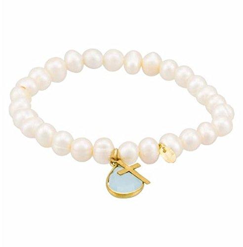 Córdoba Jewels | Pulsera Ajustables de Plata de Ley 925 bañada en Oro diseño Charms Cruz de 15x8 mm y Agua Marina 16x10mm con 29 Perlas cultivadas. Ajustable