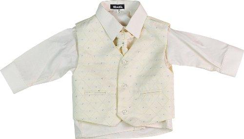 Vivaki Kinder 4-teiliges Anzug Hemd Krawatte Weste und Hose Jungen Hochzeit Outfit Gr. 74, cremefarben