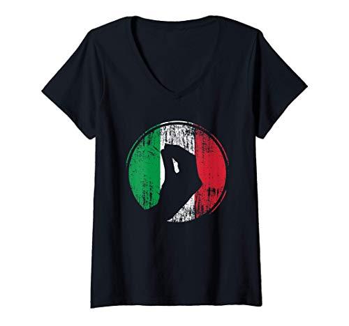 Damen Italien Italiener Handbewegung Italienische Flagge Geschenk T-Shirt mit V-Ausschnitt
