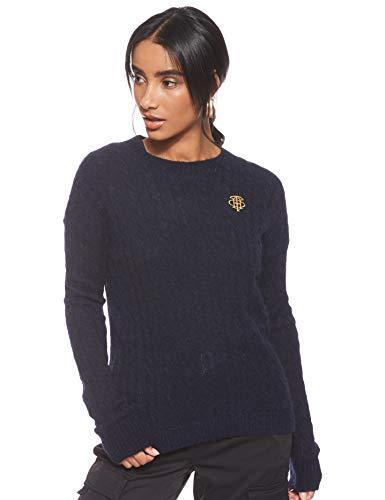 Tommy Hilfiger TH ESSENTIAL CABLE C-NK SWTR Sweatshirt Damen, Blau (Sky Captain Cjm), Small (Herstellergröße:S)