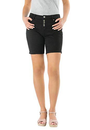 Eight2Nine Damen Bermuda Shorts mit Knopfleiste Black M