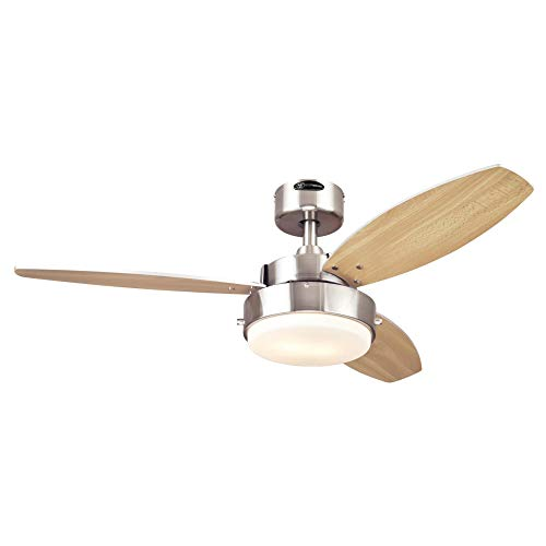 Westinghouse Lighting 7221600 Alloy Ceiling Fan with Light, 42 Inch, Brushed Nickel