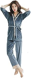 【シェルフラン】sh018 ルームウェア ベロア レース パジャマ 部屋着 3点セット
