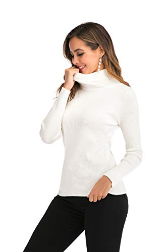 Enjoyoself Damen Strickpullover mit Rollkragen Langarm Rippstrick Pullover Kuschelig Stretch Rolli für Winter Weiß,S