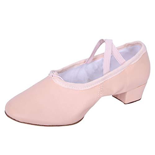 Dorical Damen Ballerinas Damenschuhe Pumpe - Slip-on Blockabsatz High Heel 3 cm Klassische Ballett Puppe Arbeitsschuhe Flandell Bequem rutschfest Hausschuhe Yoga-Schuhe Gartenschuhe(Rosa,36 EU)