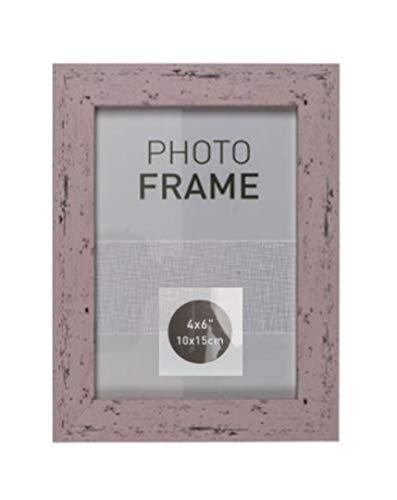 EuroDiscount Bilderrahmen Fotorahmen Kunststoff Rahmen in Holz Vintage Optik für Bildformat 10 x 15 cm 1 Stück, Farbe:Rosa