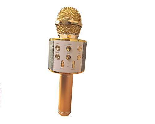 ⭐ ♪ ♪ Merci Voice ♪ ♪ ⭐ Microphone Karaoké Sans Fil, Bluetooth, Haut-Parleur, enregistreur, Effet sonore pour Enfants/Adultes, Compatible avec Android/IOS/PC/Smartphone (Or rose) ⭐⭐